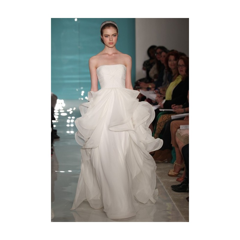Reem Acra - Spring 2013 - Lilac Strapless Ball Gown Wedding Dress with Gathered Bodice and Layered Skirt - Stunning Cheap Wedding Dresses|Prom Dresses On sale|Various Bridal Dresses
