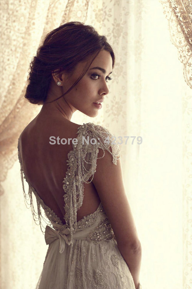 Aliexpress.com : Buy Luxury A line V Neck Wedding Dresses Lace Crystal Beaded Bridal Gowns With Sleeves vestidos de novia 2014 from Reliable lace wig adhesive remover suppliers on 27 Dress