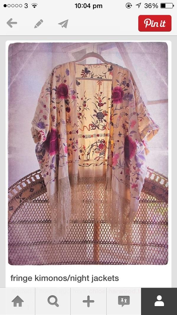 jacket kimono flowers boho boho gypsy  festival cardigan style