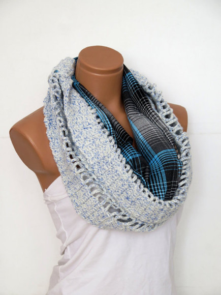 hippie boho crochet scarf block scarf infinity scarf circle scarf accessories women women accessories womens scarves blue scarf crochet scarf stripes striped scarf hippie scarf oversized plaid sweater boho chic chic