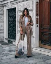 pants,wide-leg pants,blazer,white blouse,black boots,high heels boots,net,handbag,sunglasses,pendant