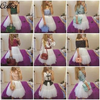 skirt girly white fashion style trendy tutu puffy musheng