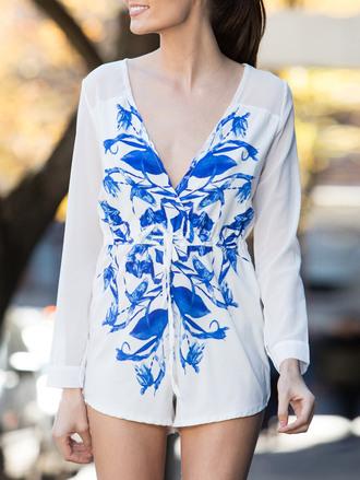 romper white long sleeves fashion style trendy boho summer festival zaful