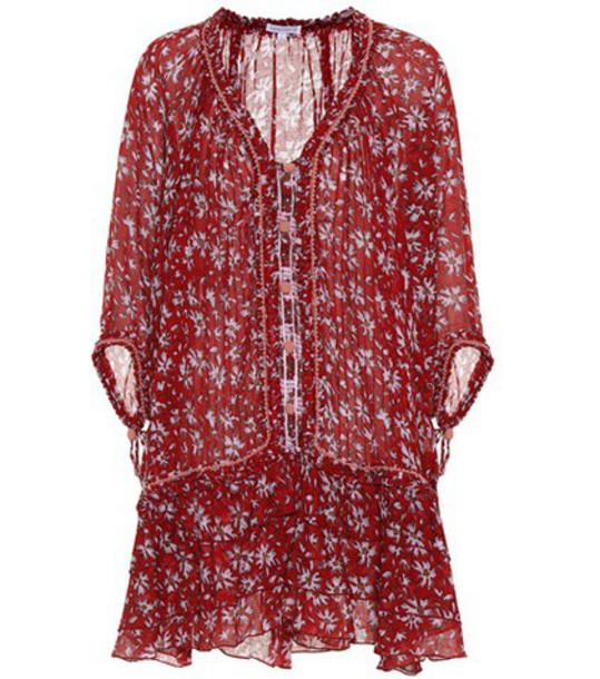 Poupette St Barth dress embroidered fleur cotton red