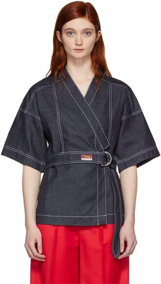 kimono blouse denim navy top