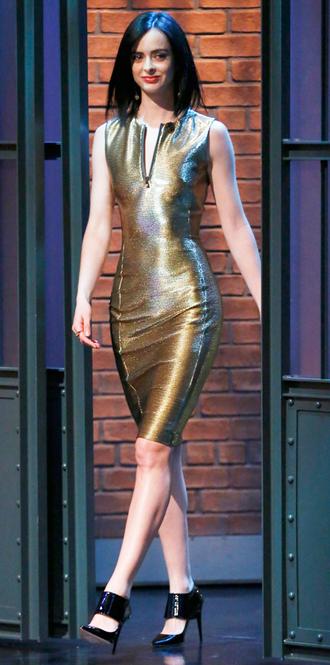 dress gold metallic krysten ritter