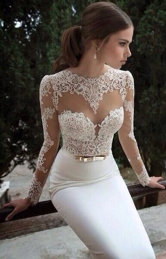 dress white lace prom prom dress prom gown gown white dress white gown white gown lace long sleeved dress