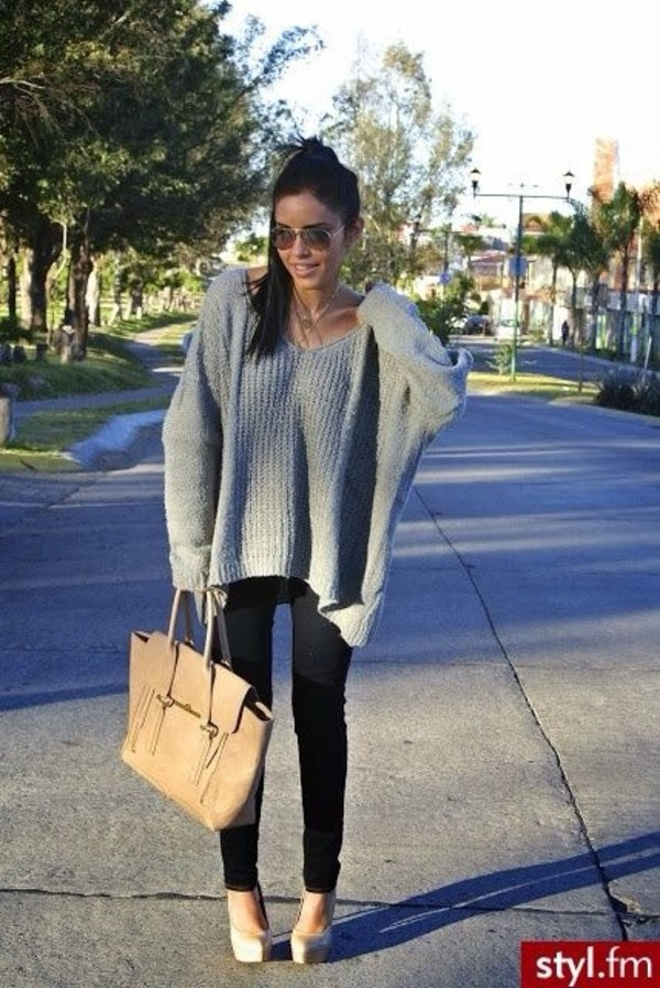 sweater grey slouchy sweater
