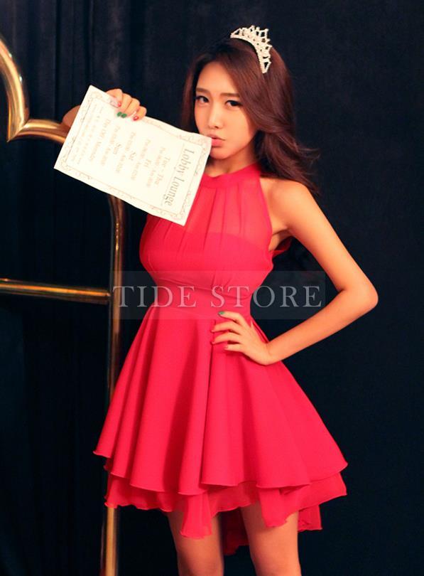 Sweet Slim Solid Color Sleeveless Mesh Irregular Hem Dress: tidestore.com