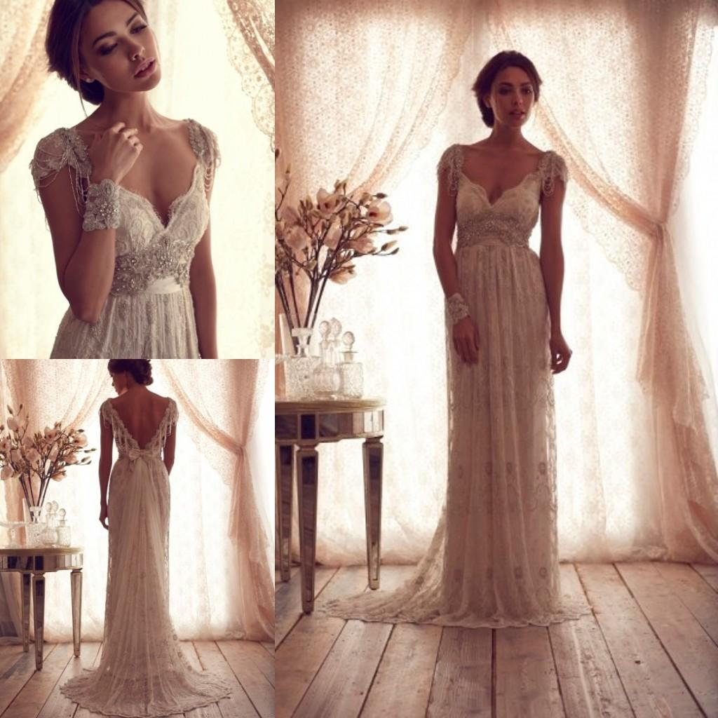 Wholesale A-Line Wedding Dresses - Buy 2014 Wedding Dress V Neck Cap Sleeves Beaded Sequins Lace Appliques A Line Floor Length Backless Beach Garden Vestido De Noiva Wedding Gown, $137.3 | DHgate