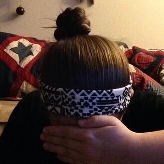hair accessory black and white headband tribal pattern