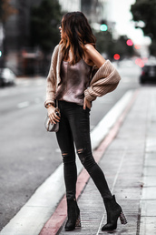 fashionedchic,blogger,cardigan,tank top,jeans,shoes,bag,jewels,ankle boots,high heels boots,shoulder bag,black skinny jeans,loose fit cardigan,beige cardigan,knitted cardigan
