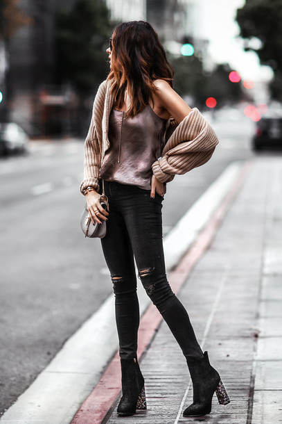 fashionedchic blogger cardigan tank top jeans shoes bag jewels ankle boots high heels boots shoulder bag black skinny jeans loose fit cardigan beige cardigan knitted cardigan