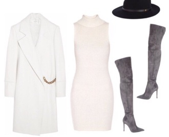 coat dress off-white hat thigh high boots outfit suede boots grey boots