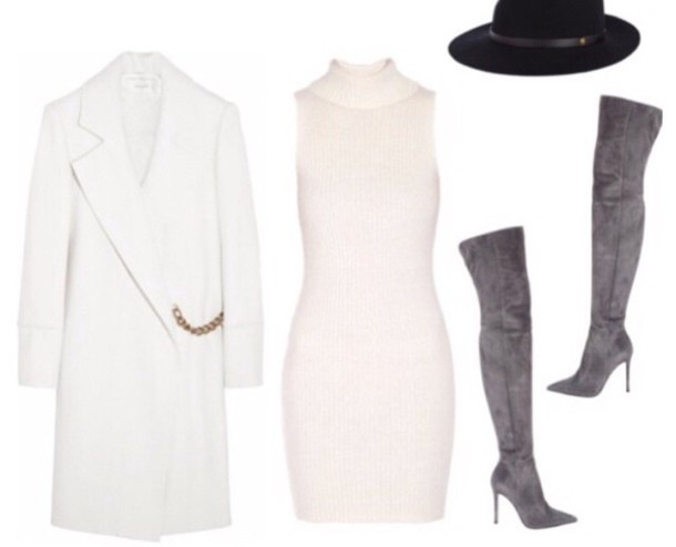 Shoes: coat, dress, off-white, hat, thigh high boots, outfit ...