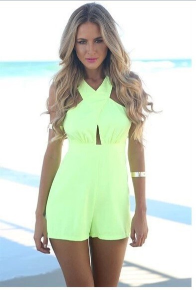 shorts backless jumpsuit green hollow out women jumpsuit summer clothing