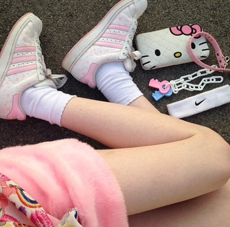 sneakers sneakers white charliexbarker hello kitty shoes adidas