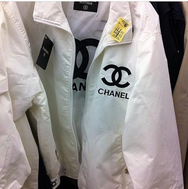 coat chanel jacket white logo