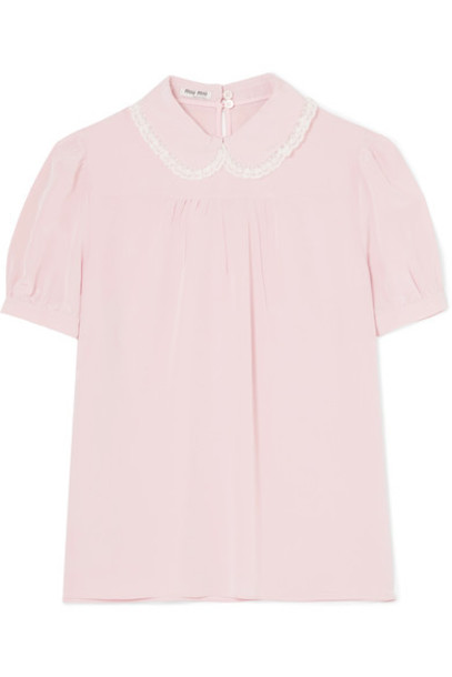 Miu Miu blouse chiffon blouse chiffon lace silk blush top