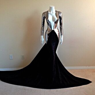 dress prom prom dress long prom dress silver metallic v neck long soft metal sexy long sleeves mermaid prom dress black prom dress black floor length deep v cut long sleeve dress mermaid haute couture high fashion trends sexy dress fashion gown couture dress long dress vneck dress black dress sliver dress prom drss