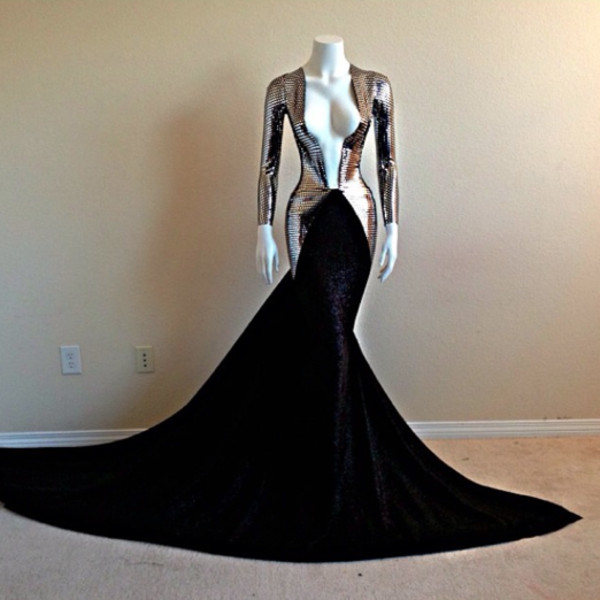 dress prom prom dress long prom dress silver metallic v neck long soft metal sexy long sleeves mermaid prom dress black prom dress black floor length deep v cut long sleeve dress mermaid haute couture high fashion trends sexy dress fashion gown couture dress long dress