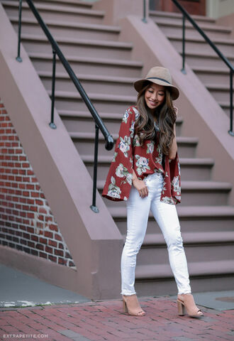 extra petite blogger jeans hat bag shoes white jeans floral top burgundy burgundy top suede boots nude boots ankle boots blouse bell sleeves bell sleeve top fedora grey hat thick heel block heels