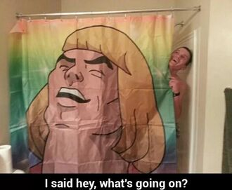 home accessory he-man shower shower curtain showerspeaker bathroom bath beach house cartoon youtuber funny cute boyish
