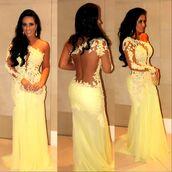 dress,mermaid,prom dress,lace dress,see through dress,long prom dress,yellow,yellow dress,lace,in black,sleeve,yellow lace dress