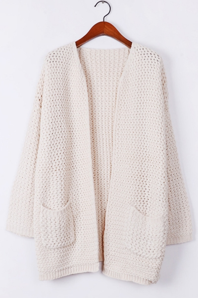 Warm Whole Color Open Front Cardigan - OASAP.com
