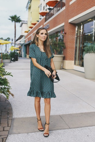 merrick's art // style + sewing for the everyday girl blogger shoes bag sunglasses jewels green dress green mini dress black bag clutch sandals sandal heels ruffle ruffle dress printed dress high heel sandals summer dress summer outfits