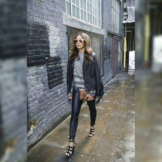 leggings maniere de voir pants faux leather effect lace up tied up black