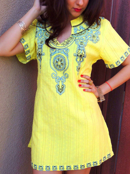 embroidered mini dress trendy dress trendy trending now hot yellow yellow dress vintage boho retro mesh