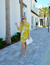 fash boulevard,blogger,jewels,sunglasses,shoes,yellow dress,long sleeves,white bag,clutch,mini dress,floral dress,white heels,summer dress,summer outfits