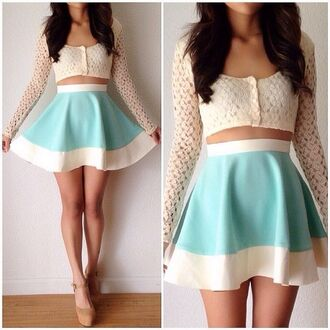 top long sleeves bandeau knit cotton lace cream blue white skirt