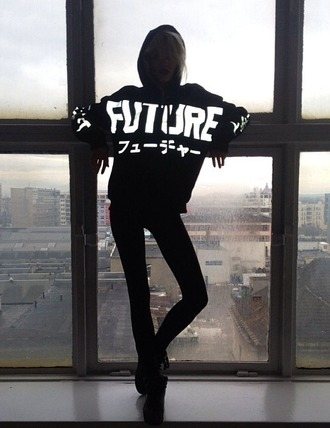 future hoodie japanese letters jaban sweater future trend sweater sweatshirt black black sweater black sweatshirt white letters white lettering hood glow in the dark black and white swag fashion dope urban street streetwear winter outfits tumblr tumblr outfit chic