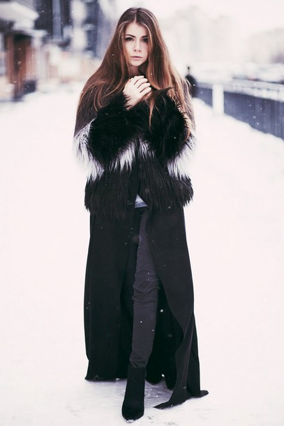 acid coke blogger fuzzy coat fluffy winter outfits winter swag