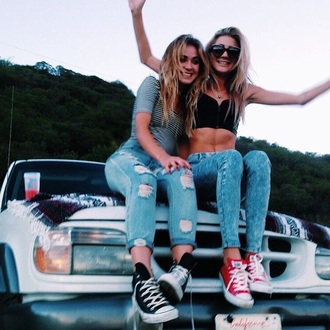 jeans ripped jeans blue white ripped tumblr outfit denim mom jeans tumblr outfit top friends