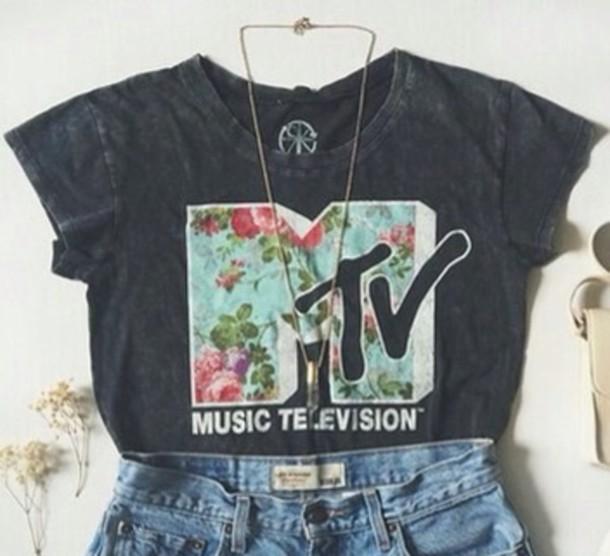 t-shirt mtv music television flowers