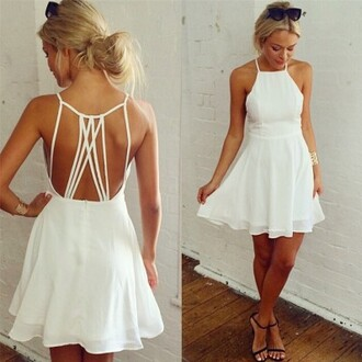 dress sexy dress women girl fashion lady white white dress pierced pierced dress chiffon backless charming hot party dress evening nightclub one piece dress slim short