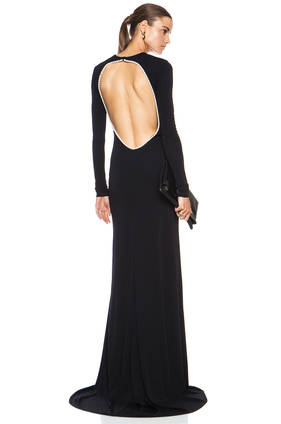 Matte jersey gown with pearls in black & white