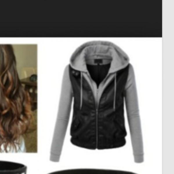 jacket grey sweatshirt zip zip up jacket zipped coat leather jacket style coat hoodie
