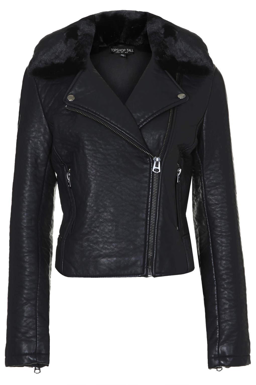 Tall faux fur collar biker jacket
