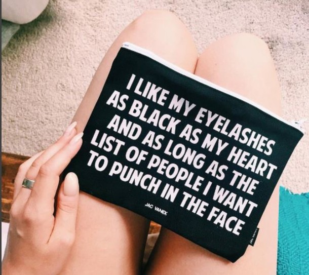 bag make-up black quote on it makeup bag make-up make up case love quotes eyelashes freevibrationz