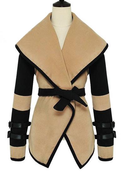 Oversize Lapel Khaki Coat