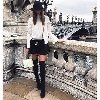 shoes tumblr over the knee boots over the knee black boots mini skirt black skirt hat black hat fedora felt hat top white top bell sleeves bag black bag gucci velvet velvet bag