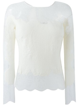 top knitted top women lace white silk wool