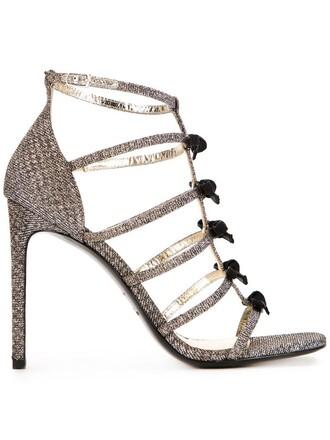 bow women sandals grey metallic shoes
