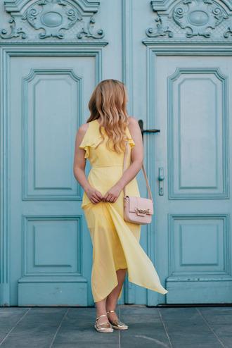 dress tumblr maxi dress summer dress summer outfits yellow yellow dress espadrilles gold shoes shoes