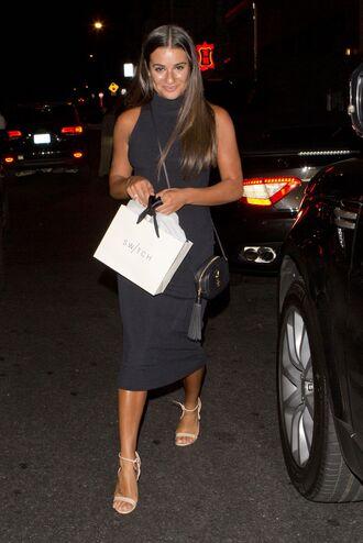 black dress shoulder bag nude heels