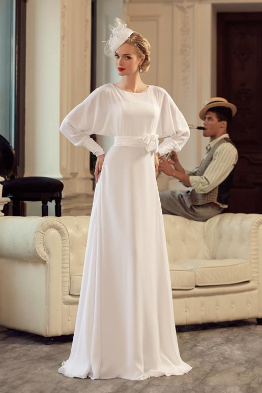 Exceptional White Vintage A Line Wedding Dresses Long Sleeves Designer Relaxed Simple  Bridal Gown Dresses For Castle Wedding Bride With Hand Made Flower Tea  Length ...